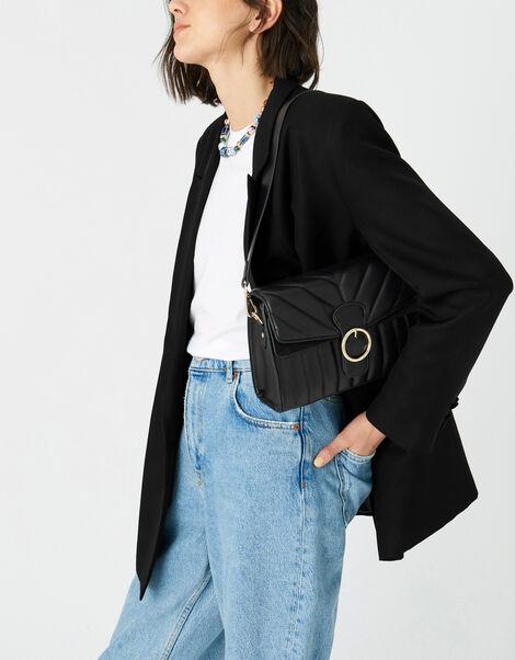 Annie Quilted Shoulder Bag Black, Black (BLACK), large