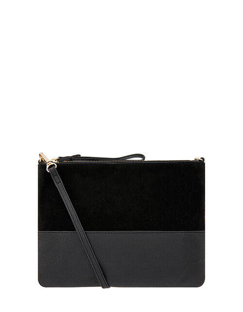 Carmela Leather Cross Body Bag, Black (BLACK), large
