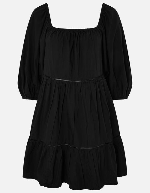 Puff Sleeve Poplin Dress, Black (BLACK), large