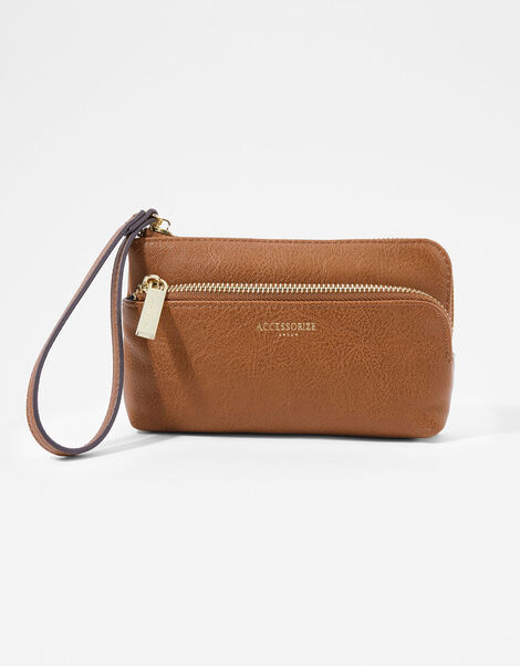 Wristlet Pouch Bag Tan, Tan (TAN), large