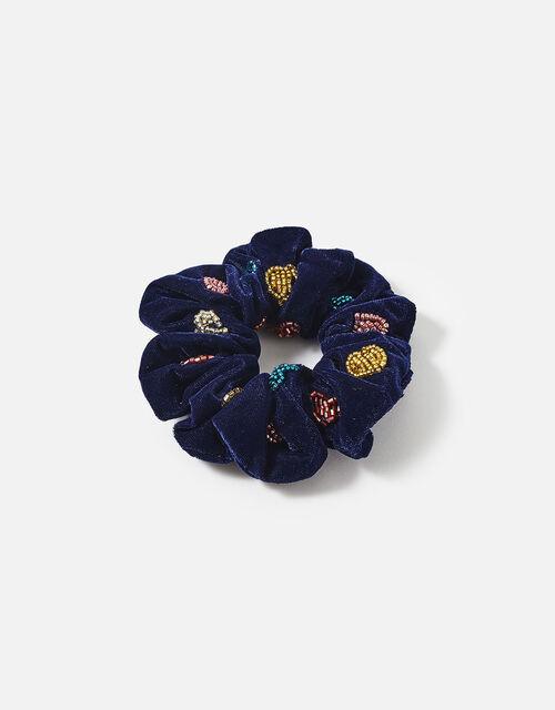 Beaded Heart Velvet Scrunchie, , large
