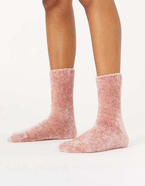 Fluffy Chenille Cosy Ankle Socks Pink, Pink (PINK), large