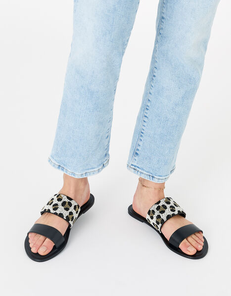 Beaded Animal Sandals Black, Black (BLACK), large