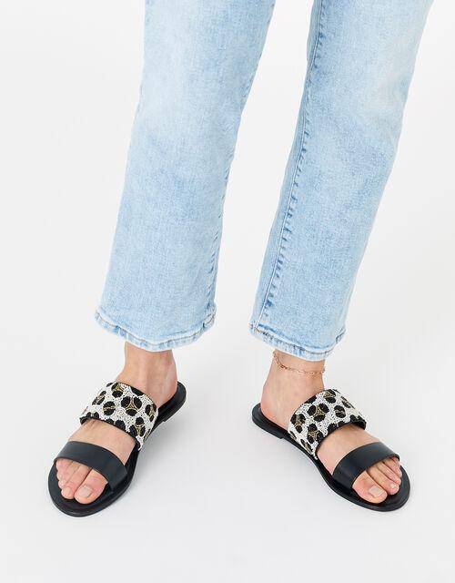 Beaded Animal Sandals, Black (BLACK), large