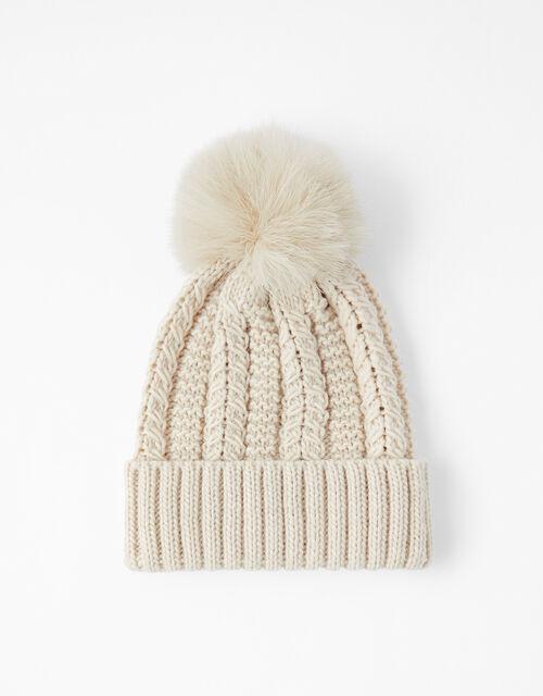 Chunky Knit Pom-Pom Beanie, Cream (CREAM), large