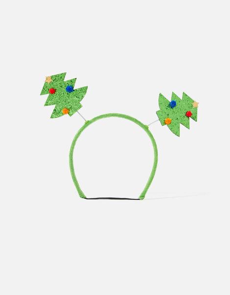 Christmas Tree Glitter Bopper Dog Headband Green, Green (GREEN), large
