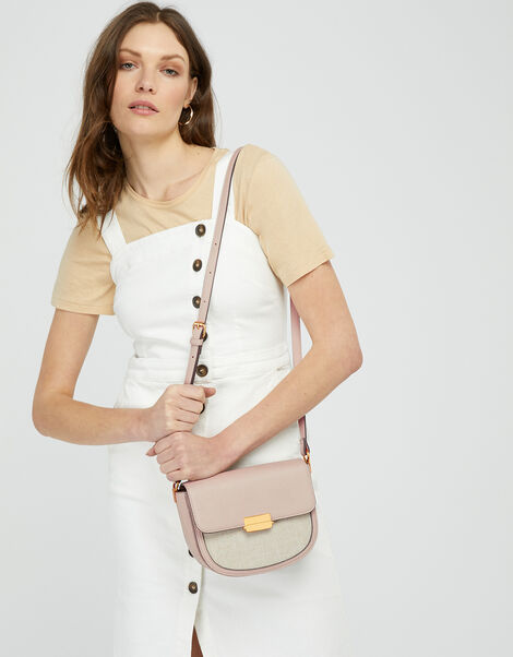 Linen Panel Cross-Body Bag Nude, Nude (NUDE), large