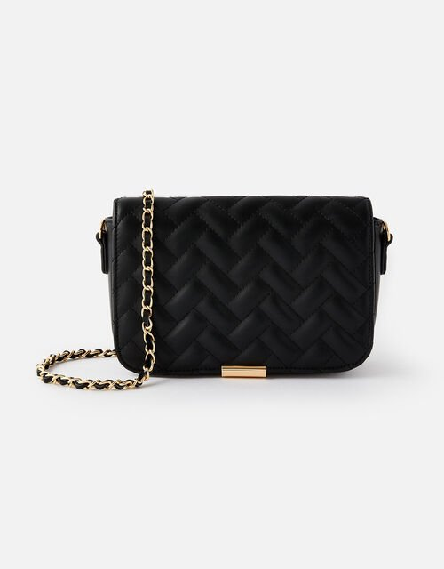 Quinn Quilted Chain Cross-Body Bag , Black (BLACK), large