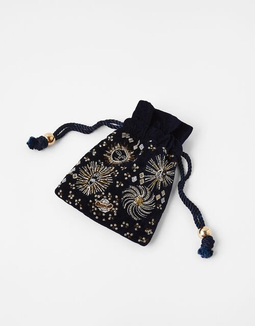 Starry Embellished Jewellery Pouch Bag, , large