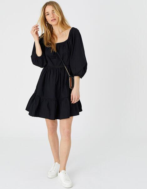 Puff Sleeve Poplin Dress Black, Black (BLACK), large