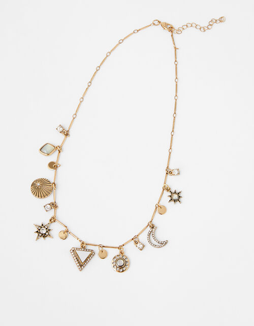 Moon and Star Charmy Collar Necklace, , large