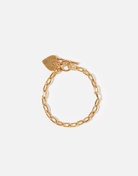 Gold-Plated Chunky Heart Bracelet, , large