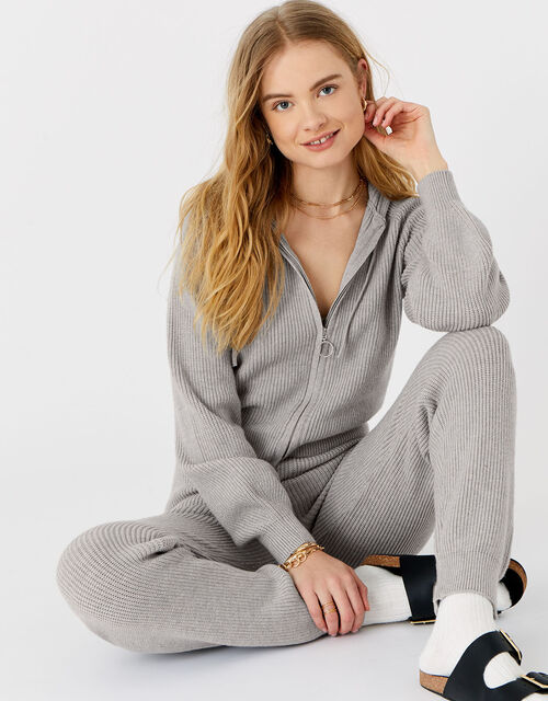 Ribbed Knit Lounge Hoody , Grey (LIGHT GREY), large