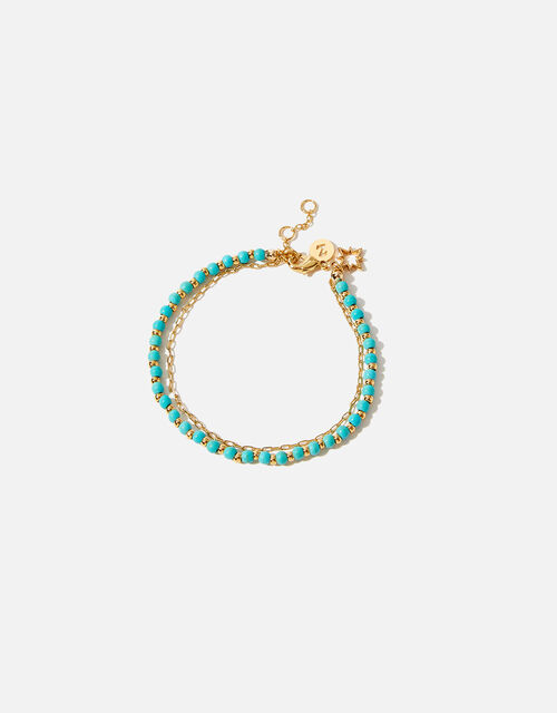 Gold-Plated Turquoise Bead Bracelet, , large