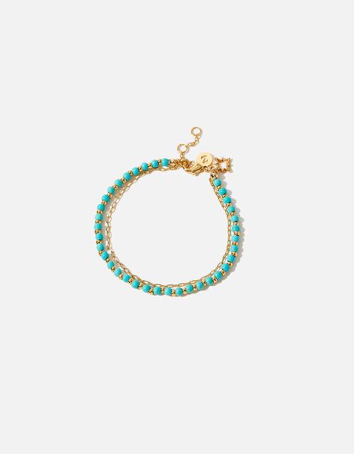 Gold-Plated Turquoise Bead Bracelet, , large