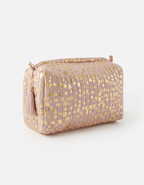 Metallic Spot Print Washbag, , large