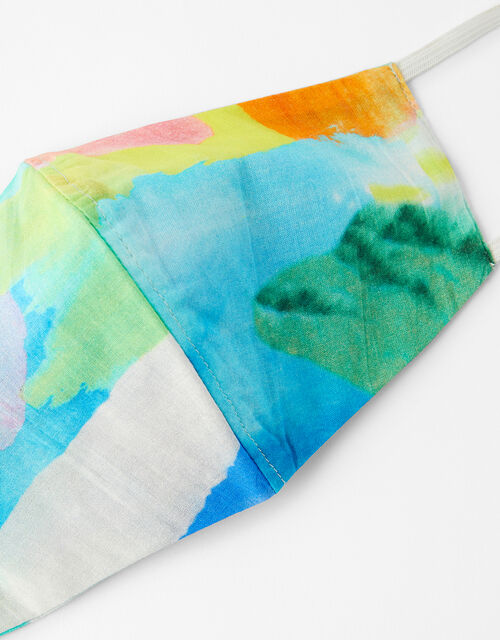 Watercolour Print Face Covering in Pure Cotton, , large