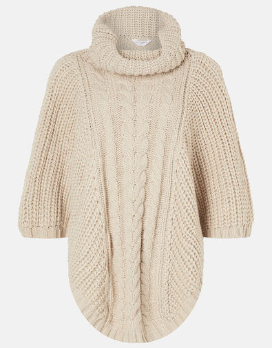 Cable Knit Poncho Natural, Natural (NATURAL), large