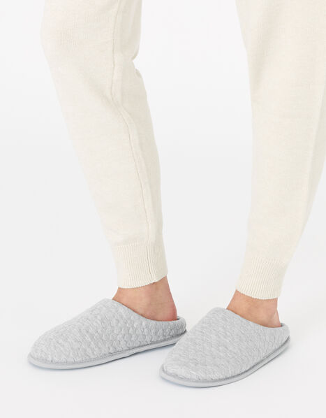 Bubble Stitch Slippers Grey, Grey (GREY), large