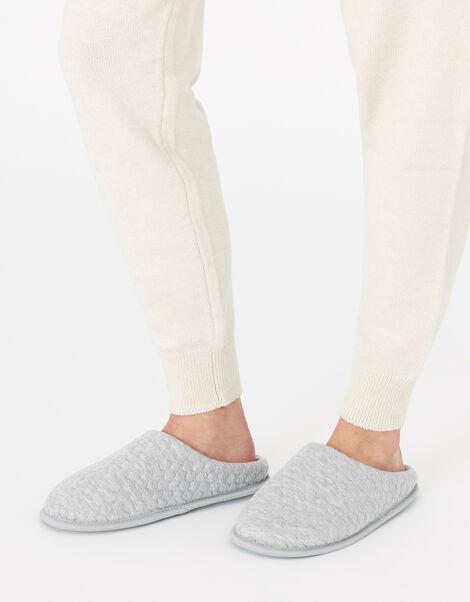 Bubble Stitch Slippers Grey, Grey (GREY), large