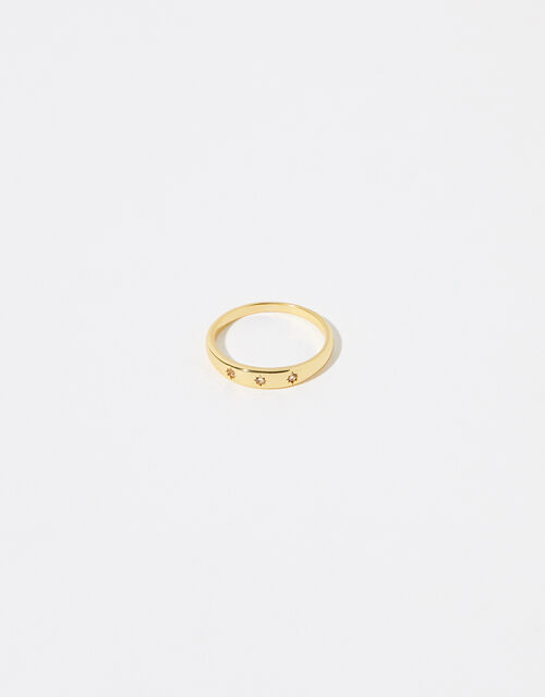 Gold Vermeil White Topaz Band Ring, Gold (GOLD), large