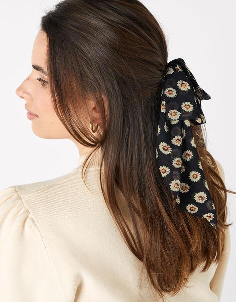 Daisy Chiffon Bow Hair Barrette, , large