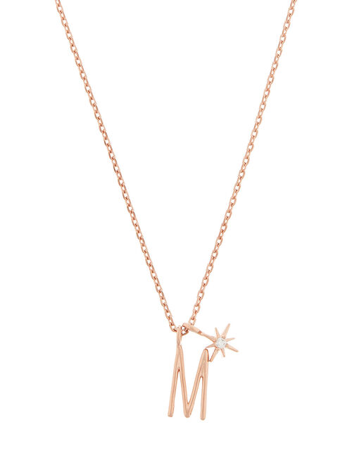 Rose Gold-Plated Initial Star Necklace - M, , large