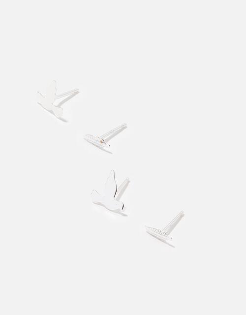 Sterling Silver Leaf Bird Stud Set, , large