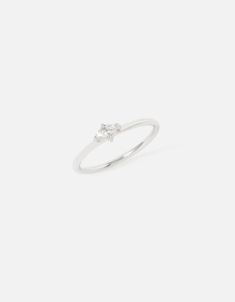 Sterling Silver Navette Single Band Ring Silver, Silver (ST SILVER), large
