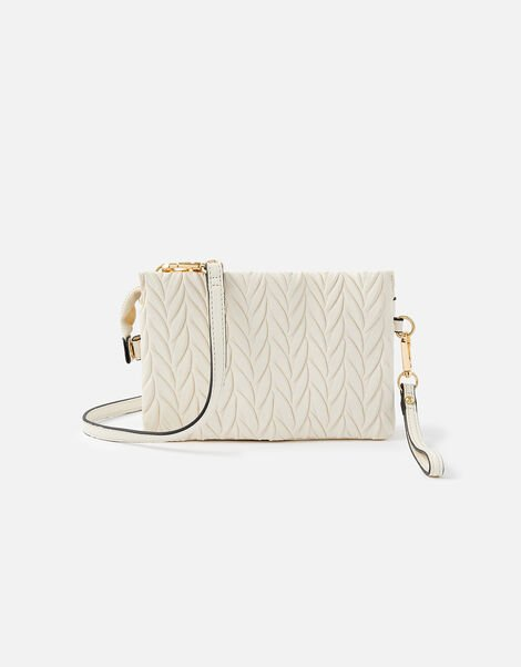 Paige Pleated Cross-Body Bag Cream, Cream (CREAM), large