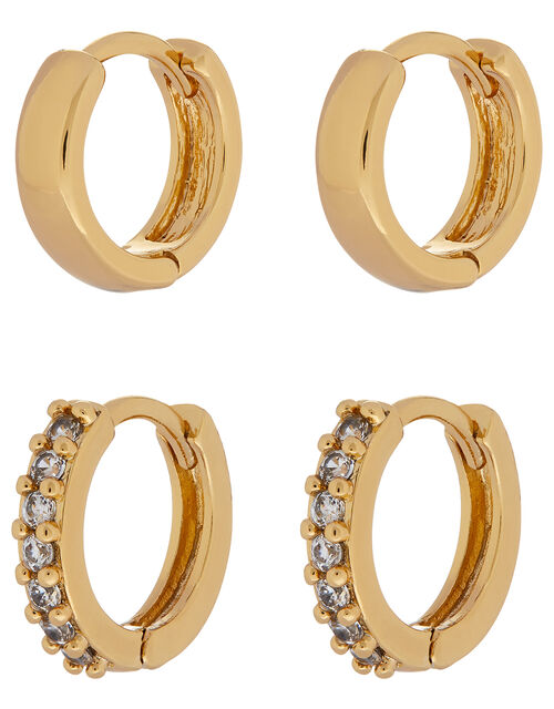 Gold-Plated Plain and Sparkle Hoop Set, , large