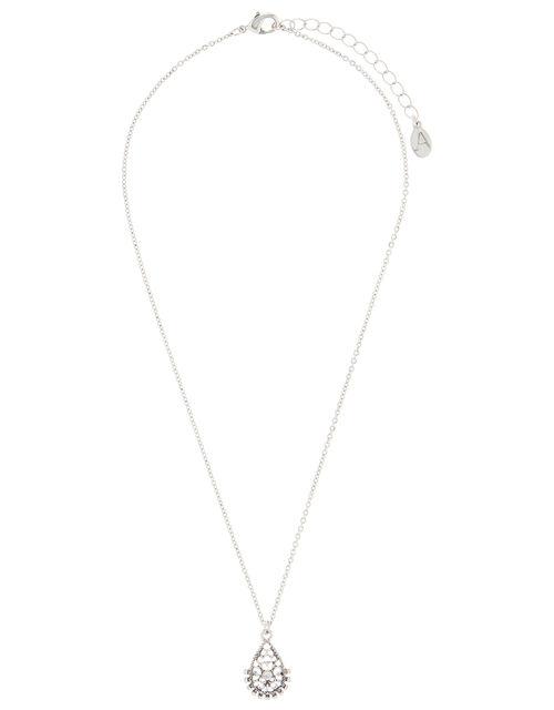 Crystal Teardrop Pendant Necklace, , large