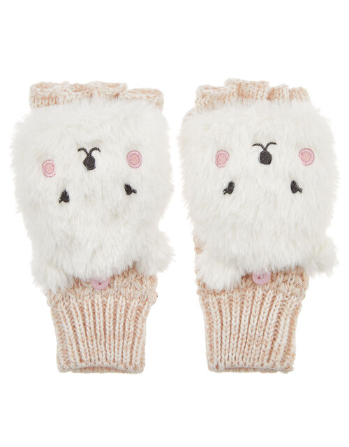 Polar Bear Faux Fur Capped Mittens, Natural (IVORY), large