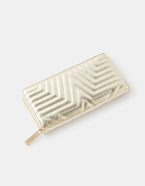 Quilted Star Zip-Around Wallet, Gold (GOLD), large
