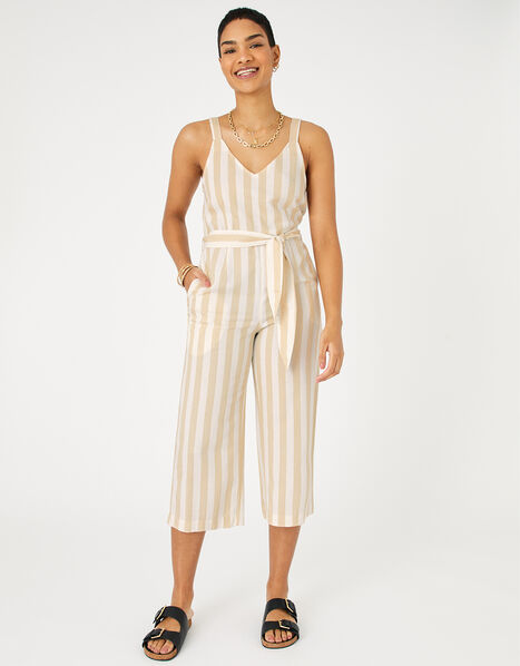 Stripe Belted Jumpsuit Cream, Cream (CREAM), large