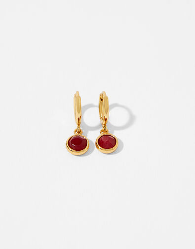 Gold-Plated Birthstone Earrings - January, , large