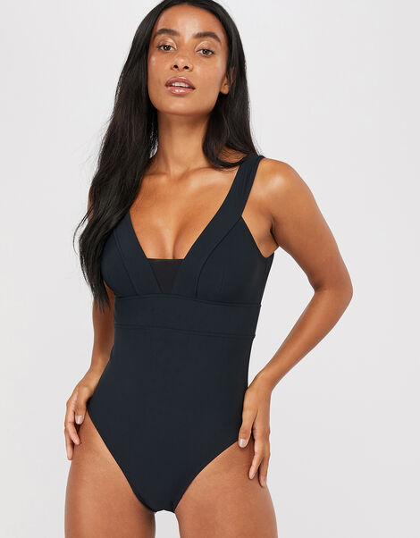 Lexi Plunge Shaping Swimsuit Black, Black (BLACK), large