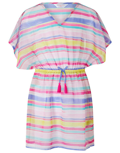 Stripe Chiffon Kaftan Dress Multi, Multi (BRIGHTS-MULTI), large