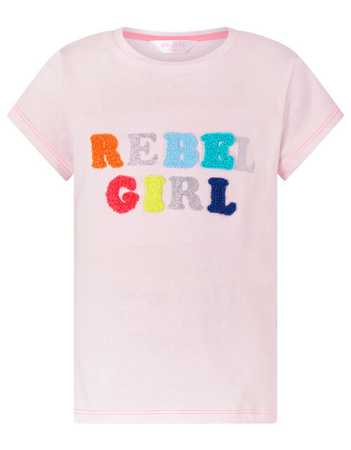 Rebel Girl Glitter T-Shirt in Cotton Jersey, Pink (PINK), large