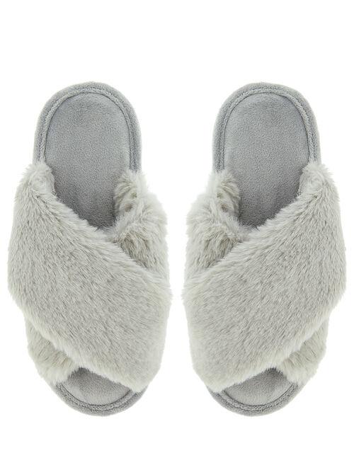 Fluffy Peep-Toe Slipper Sliders, Grey (GREY), large