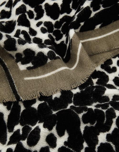 Monochrome Leopard Blanket Scarf, , large