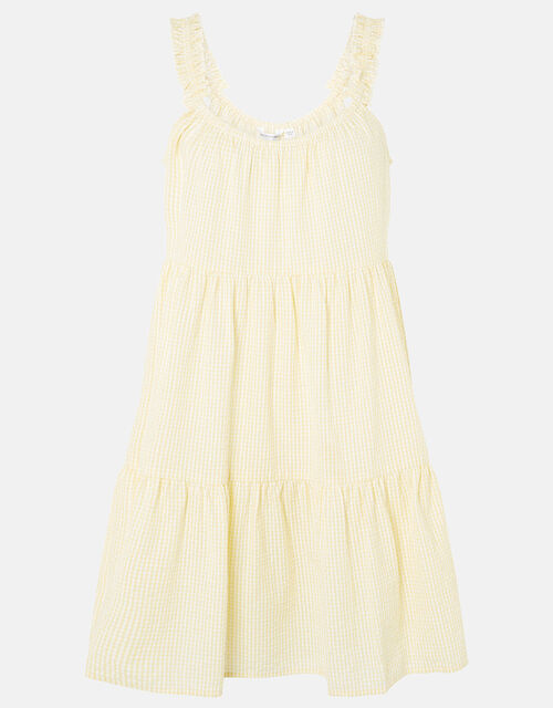 Gingham Mini Dress in Organic Cotton, Yellow (YELLOW), large