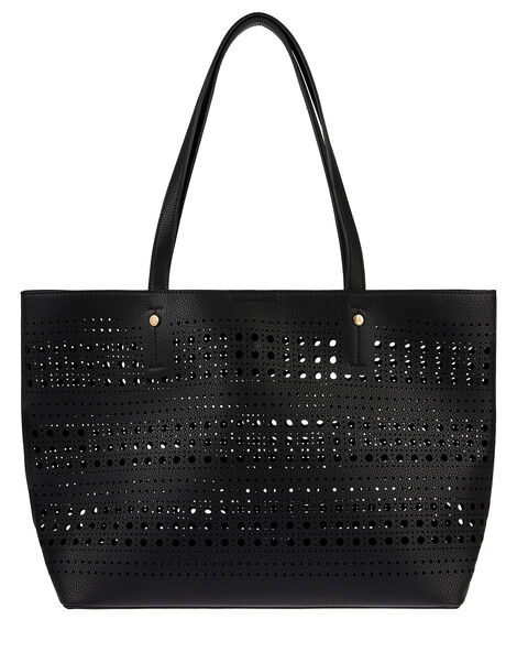 Perforated Shopper with Detachable Zip Pouch Black, Black (BLACK), large