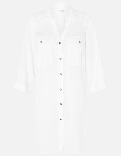 Long Sleeve Beach Shirt with LENZING™ ECOVERO™, White (WHITE), large