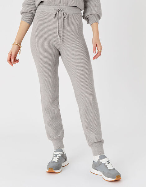Rib Knit Lounge Joggers Grey, Grey (LIGHT GREY), large