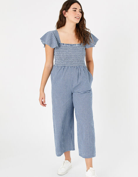 Gingham Print Smocked Jumpsuit Blue, Blue (NAVY), large