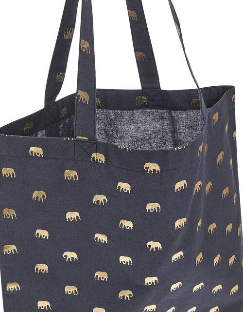 Metallic Elephant Shopper Bag, , large