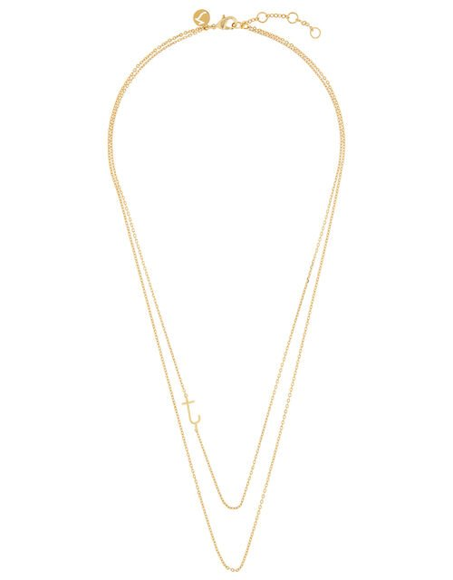 Gold-Plated Double Chain Initial Necklace - J, , large