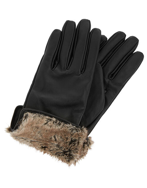 Leather and Faux Fur Gloves, Black (BLACK), large