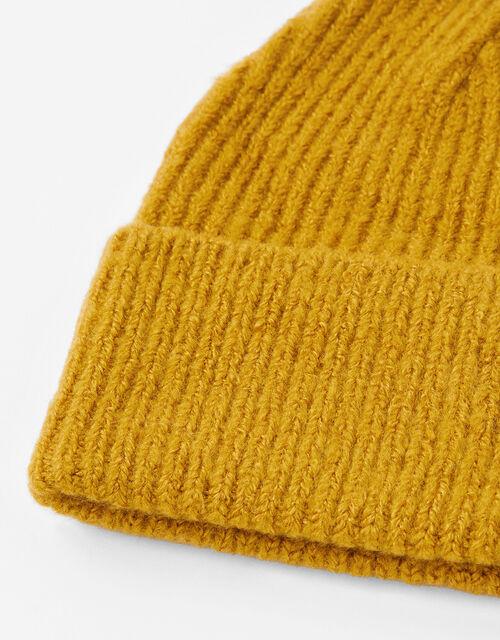 Soho Knit Beanie Hat, Yellow (OCHRE), large